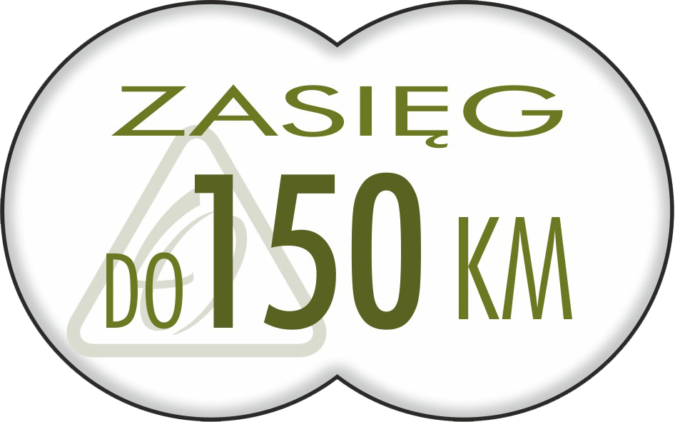 do 150 km (z akumulatorem 17,4 Ah)