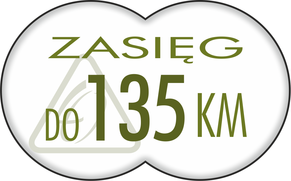 do 135 km (z akumulatorem 16 Ah)